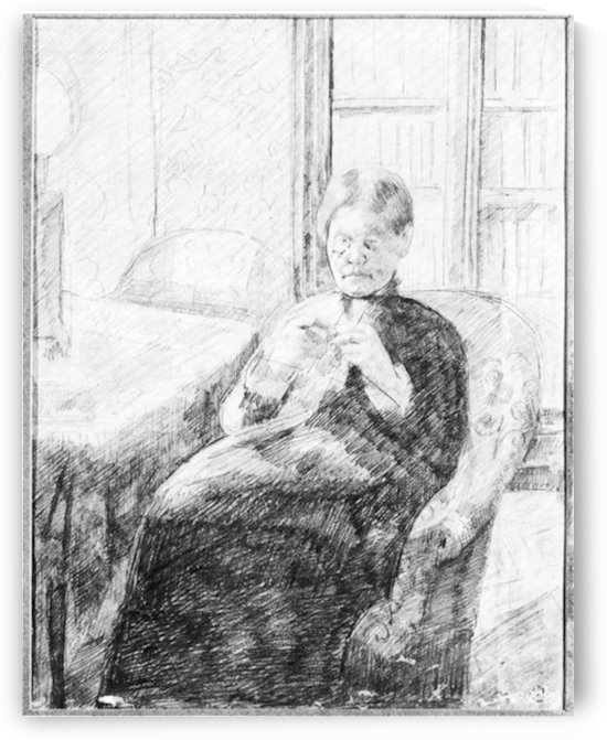 An old woman knitting by Cassatt by Cassatt