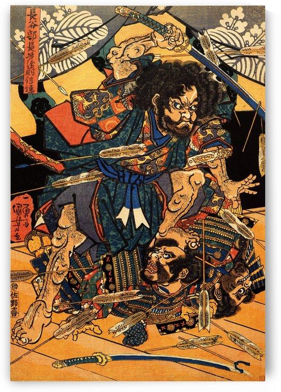 Hasebe Nobutsura during the Taira attack on the Takakura palace by Utagawa Kuniyoshi