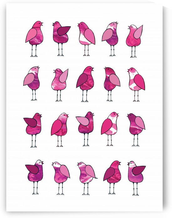 Gossip Birds Pink by Lisa Frances Judd