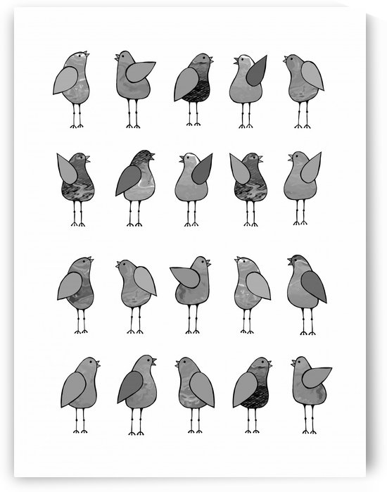 Gossip Birds Monochromatic by Lisa Frances Judd