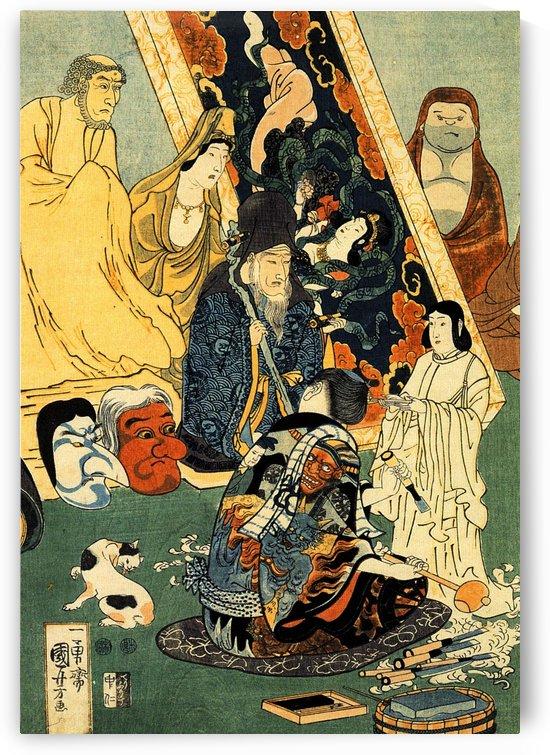 Sculptor Jingoro surrounded by statues by Utagawa Kuniyoshi