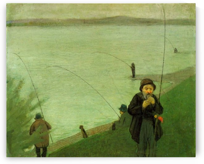 Anglers on the Rhine by Macke by Macke