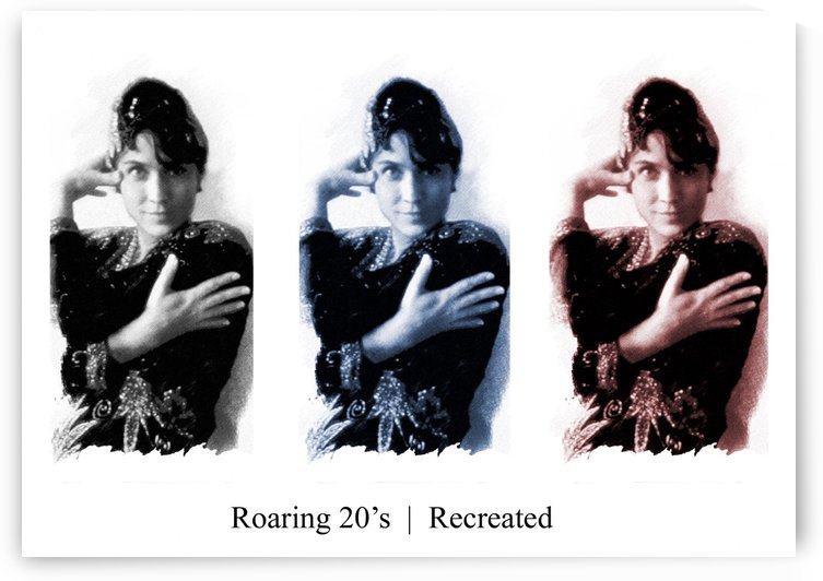 Roaring 20s Recreation Model released triptych of a 1920s flapper. by Alex Pell