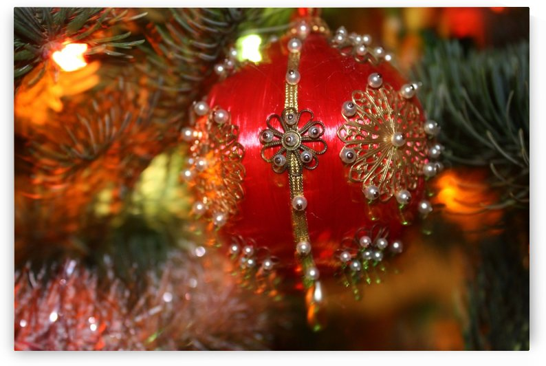 Festive Christmas holiday background with Santa Claus presents and tree. by Alex Pell