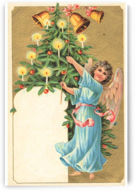 Christmas Card A christmas card with an angel and a christmas tree by Alex Pell