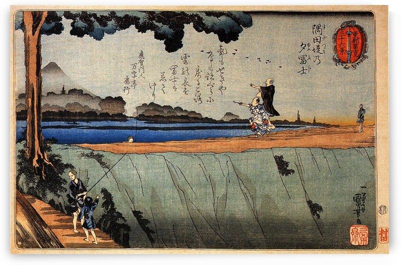 Mount Fuji from the Sumida River embankment by Utagawa Kuniyoshi