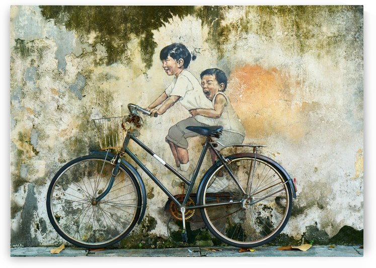 Kid And His Sister On A  Bicycle  Painting   by Smithson