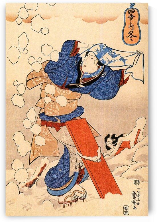 Woman in snow by Utagawa Kuniyoshi