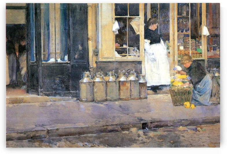 The flower girls and the milk vendor by Hassam by Hassam