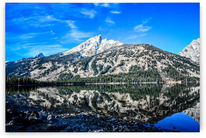 Teton reflection in Jenny lake by Ed St Germain