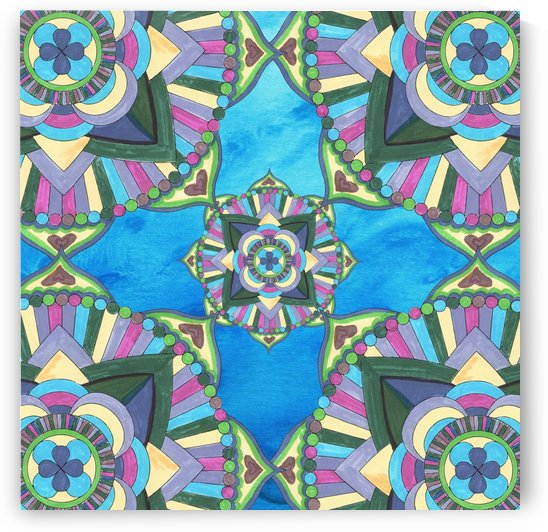 Hand Painted Mandala Watercolor Meditation Pattern III by Irina Sztukowski