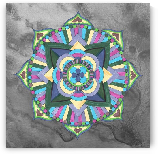 Hand Painted Mandala Watercolor Meditation On Gray by Irina Sztukowski
