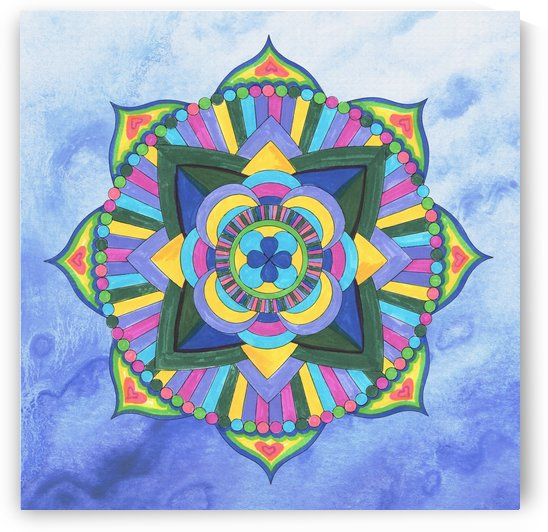 Hand Painted Mandala Watercolor Meditation on Blue by Irina Sztukowski