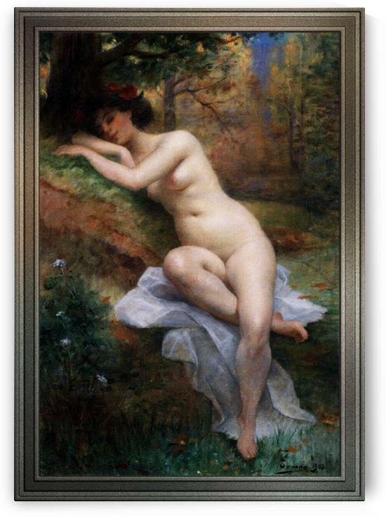 Female Nude In Forest Landscape by Adrien Henri Tanoux by xzendor7