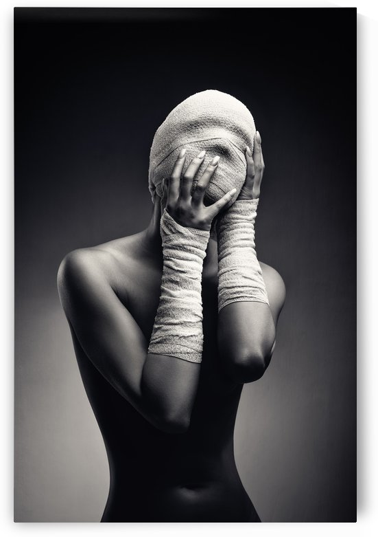 Woman in bandages by Johan Swanepoel