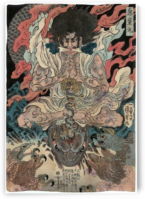 Kidomaru and the Tengu by Utagawa Kuniyoshi