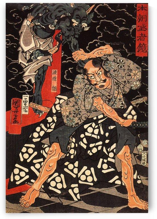 Watanabe Tsuna fighting the demon at the Rashomon by Utagawa Kuniyoshi