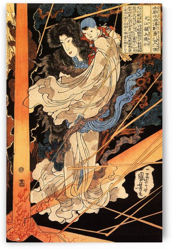 Fusehime saving Inue Shimbyoe Masahi from a thunderbolt by Utagawa Kuniyoshi