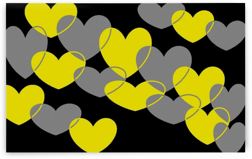 Gray and Yellow Hearts 1 by Sherrie Larch