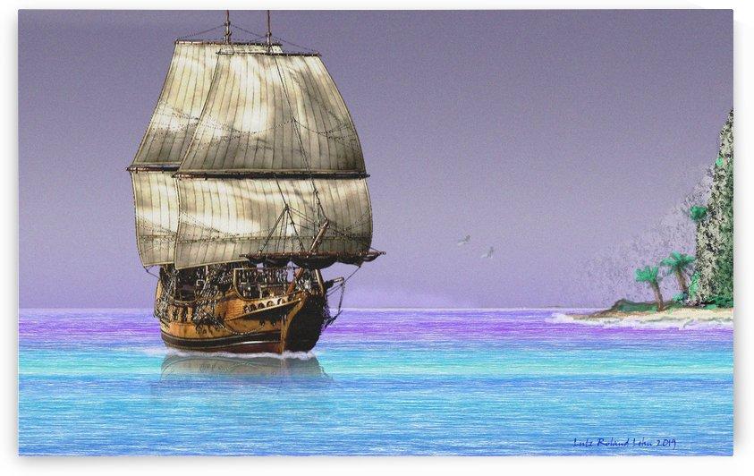 Sailship On A Tropical Island by Lutz Roland Lehn