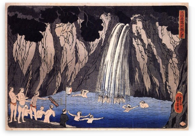 People at Japanese waterfall by Utagawa Kuniyoshi