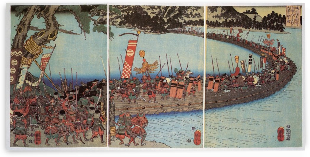 The battle of Nagaragawa, with Masatsura's troops crossing a bridge of boats by Utagawa Kuniyoshi