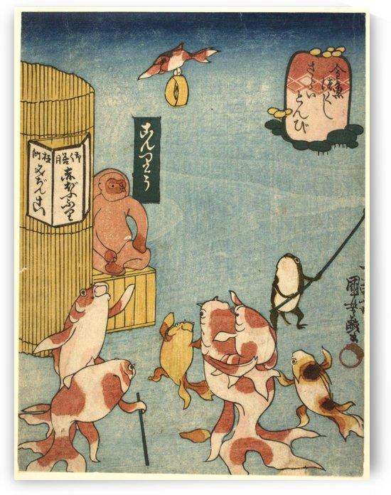 Thieving Hawk's Sudden Attack by Utagawa Kuniyoshi