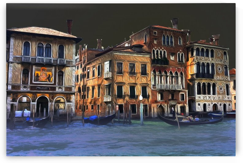 Venice Palazzos on CANALE GRANDE by night by Lutz Roland Lehn