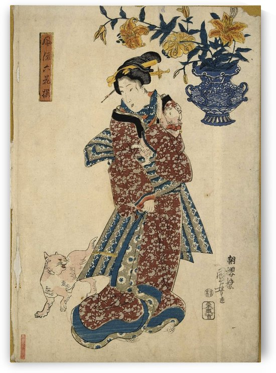 Woman with two cats by Utagawa Kuniyoshi
