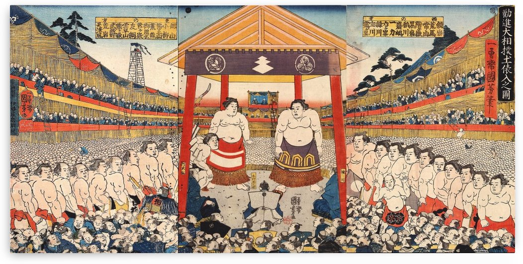 Illustration of Sumo Wrestlers entering the Ring at Kanjin Matches by Utagawa Kuniyoshi