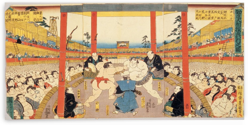 Sumo Wrestlers in the ring at Kanjin Matches by Utagawa Kuniyoshi