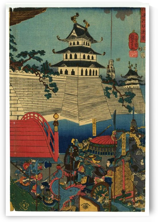 Asian buildings by Utagawa Kuniyoshi