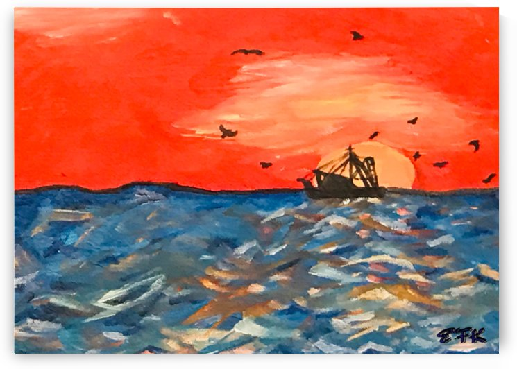 fishing boat at sunset by EF Kelly