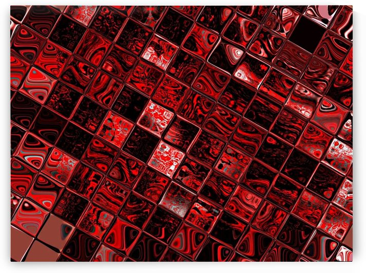 Red Glass Tiles 3 by Sherrie Larch