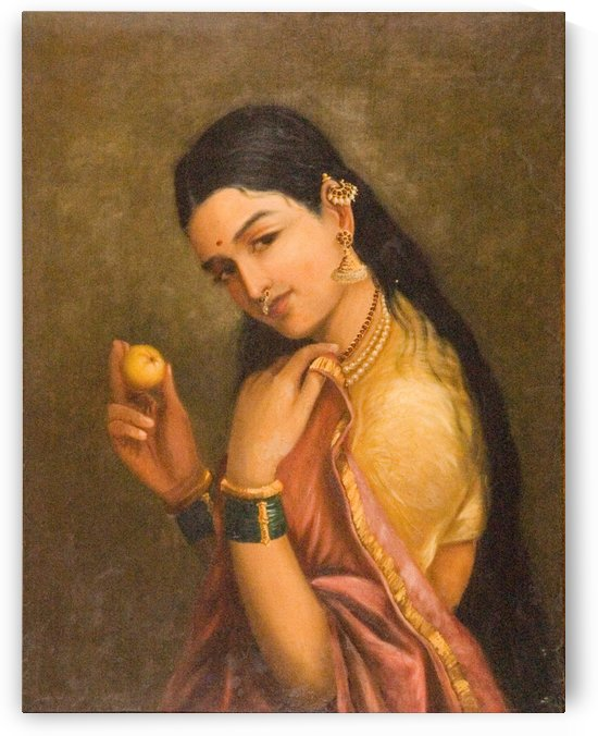 Woman Holding a Fruit by Raja Ravi Varma