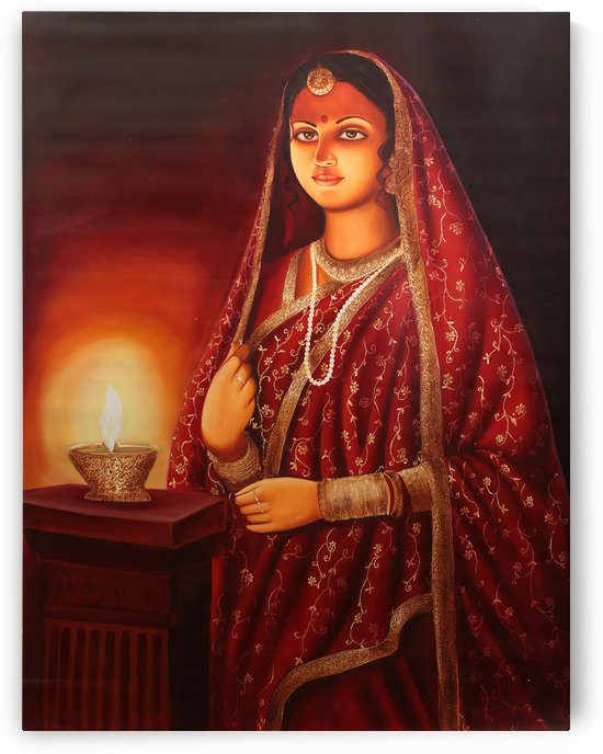 Lady with lamp by Raja Ravi Varma