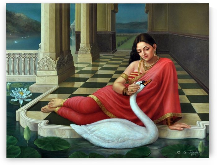 Lady with swan by Raja Ravi Varma