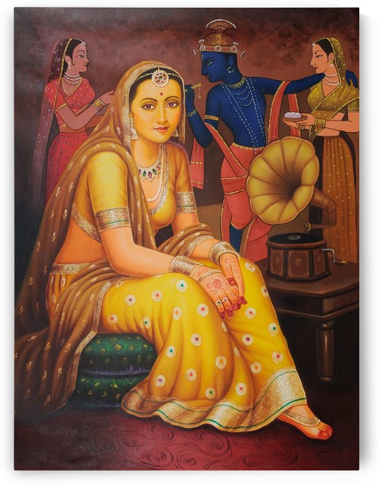Indian lady with people in the back by Raja Ravi Varma