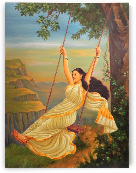 Lady Enjoying Swing by Raja Ravi Varma