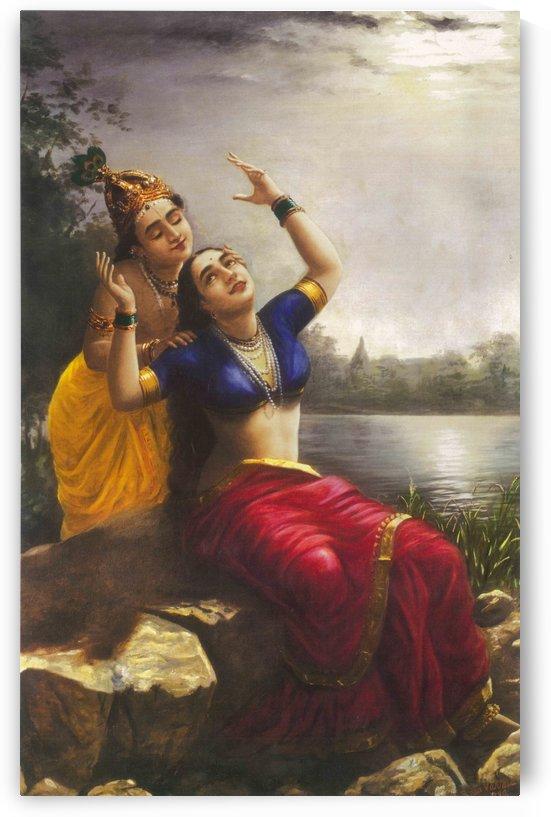 Indian girls near a lake by Raja Ravi Varma