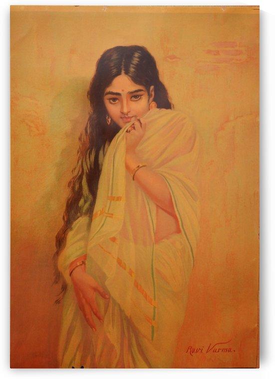 Young Indian girl by Raja Ravi Varma