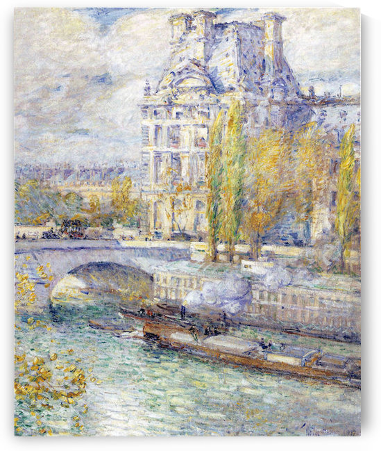 The Louvre on Pont Royal by Hassam by Hassam