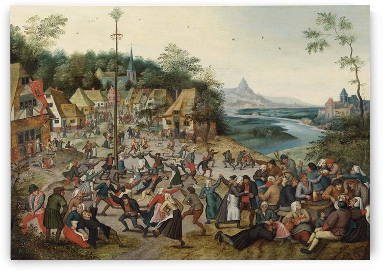 Saint George kermis with dance around the maypole by Pieter Brueghel the Younger