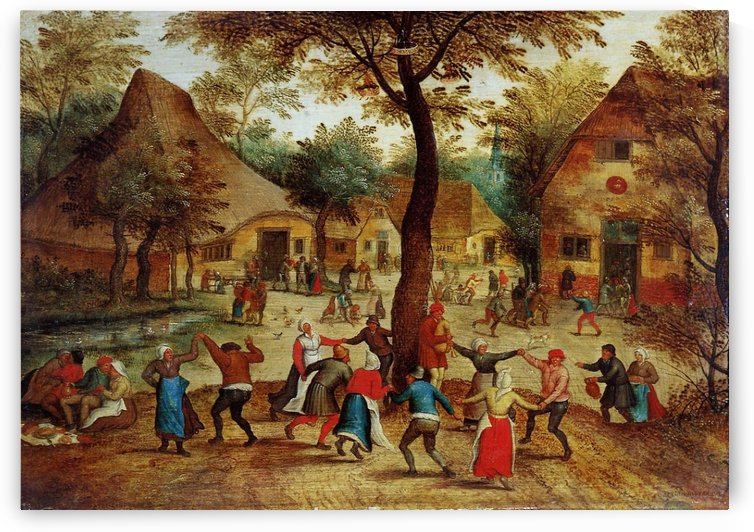 Village Scene with Dance around the May Pole by Pieter Brueghel the Younger