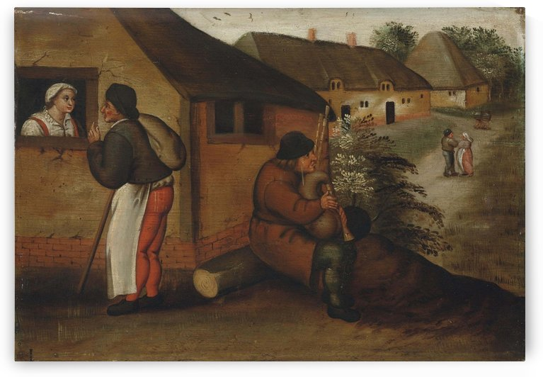 A bagpipe player and a wayfarer in a village by Pieter Brueghel the Younger