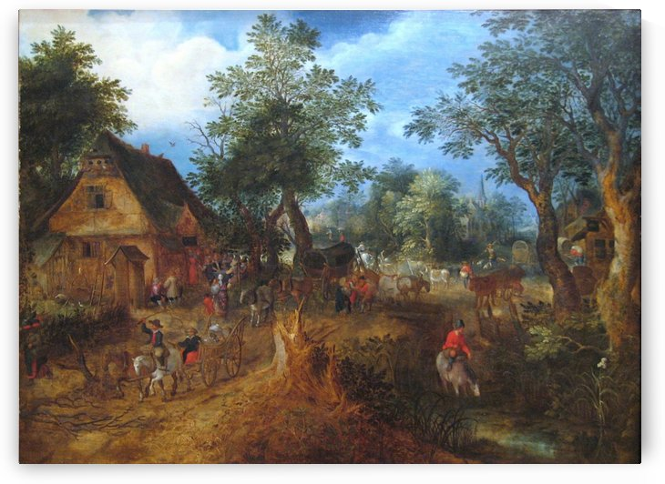 Village Scene in the Woods by Pieter Brueghel the Elder