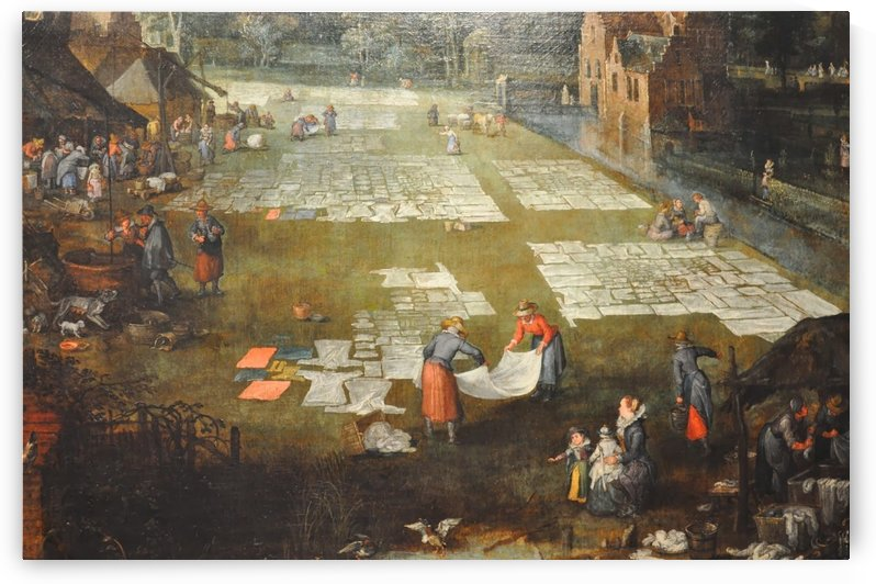 Market scene and washing field in Flandres by Pieter Brueghel the Elder