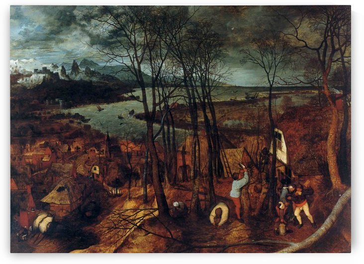 The Gloomy Day - beginning of Spring on wood by Pieter Brueghel the Elder