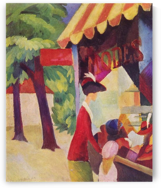 Before Hutladen (woman with a red jacket and child) by Macke by Macke