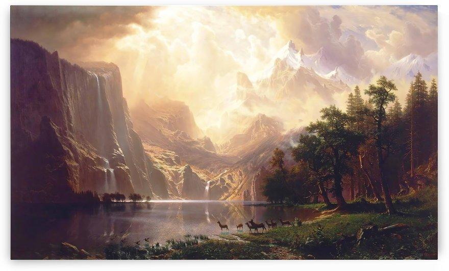 Between the Sierra Nevada Mountains by Bierstadt by Bierstadt